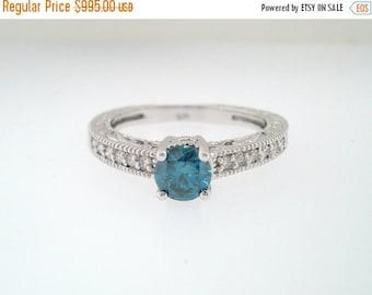 10% ON SALE Blue Diamond Engagement Ring 0.60 Carat 14K White Gold Vintage Antique Style Handmade Bridal