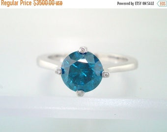 10% ON SALE 1.23 Carat SI1 Blue & White Diamond Solitaire Engagement Ring 14K White Gold HandMade Unique  Ring