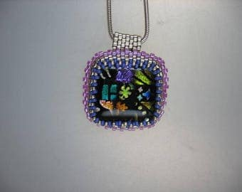 Multi Color Dichroic Glass Cabochon with Peyote Stitched Bezel Pendant