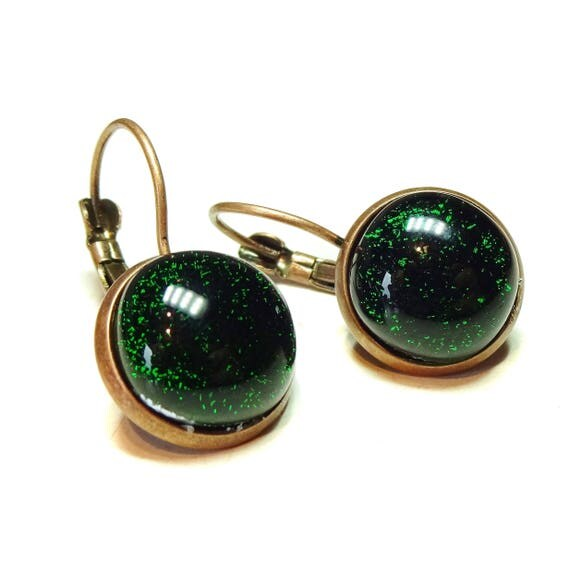 Dichroic Glass Antique Copper Lever Back Earrings - Dark Green