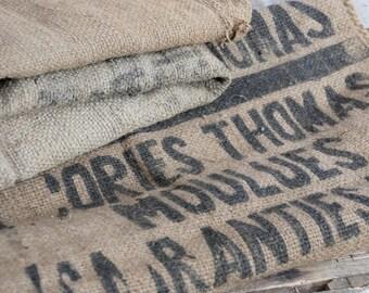 Hessian grain sack, Vintage grain sack fabric cushion, French farmhouse decor.