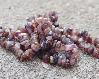 Natural tumbled Amethyst Gemstone Chip Continuous Necklace Strand