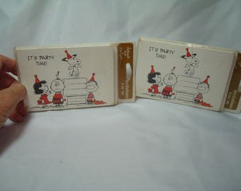 1960s 1970s AMBASSADOR SCHULZ Charlie Brown Snoopy Linus Woodstock and Lucy Party Invitations.