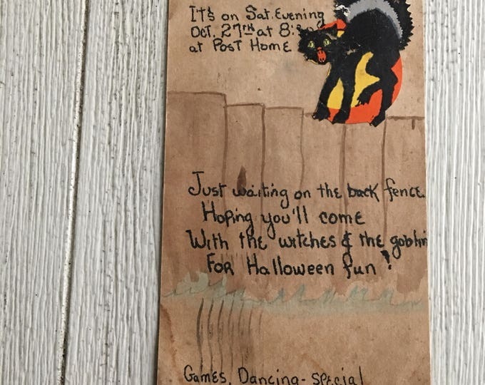 Vintage Halloween Party Invitation Postcard Handmade Witch Black Cat