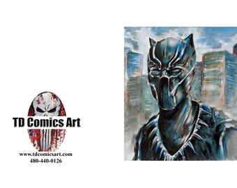 Black Panther greeting card of original comic art marvel art,comics,super heroes, villains,marvel art,wall art, home decor,comic,movies