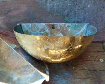 2 Vintage brass wall planters sconce pot bowl aged brass turquoise Rustic shabby French Country  storage bin