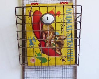 Metal wall basket 2 tiered Numbered Cage wire baskets kitchen farmhouse industrial Magazine book mail storage metal baskets