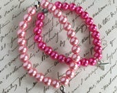 Make It Pink Breast Cancer Awareness Beaded Stacker with Ribbon Charm Charity Pink Fund