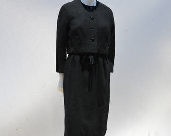 Vintage 60's ELIZABETH ARDEN NYC hand beaded dress with matching jacket cocktail formal designer dress size 8 by thekaliman