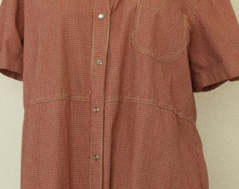 Vintage Red Gingham Button Down Shirt Dress by White Stag   Maxi 1980s size 12/14