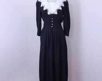 Vintage Black and White Long Sleeves Maxi Dress by T.R. Bentley