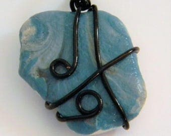 Wire Wrapped Pendant with Blue, Gray, and White Swirl Design