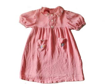 50% half off sale // Vintage 30s Little Girl's Rayon PInk Embroidered Flower Dress - 18M