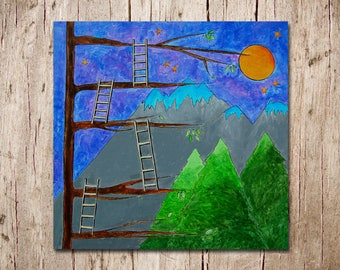 Reach for the Stars - Original Canvas Painting - 24 inch x 24 inch - Children's Room - Nursery Artwork - Build a Ladder to the Stars