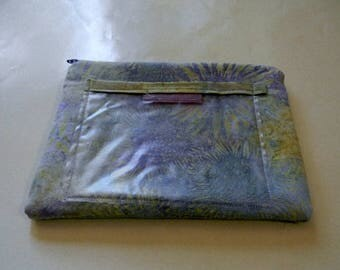 Lavender Sunflower Batik Zipper Pouch with Plastic Lining and Pocket