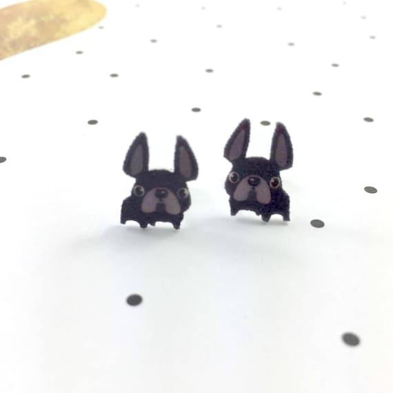 bulldog, black, dog, french bulldog, stud earring, print on plastic, shrink plastic earring, stainless stud, handmade, les perles rares