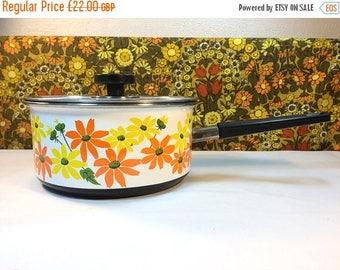SALE 25% OFF Vintage Prestige Enamel Saucepan Flower Power 70s Retro Campervan Orange Yellow