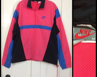 1990's Nike color block silver tag label sports windbreaker pullover jacket size Medium bright neon fuchsia pink royal blue black oversized