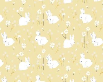 Organic KNIT Fabric - Birch Little - White Bunny Knit