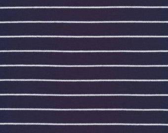Organic KNIT Fabric - Cloud9 2017 Knits - Stripes Navy