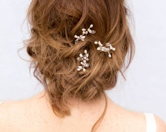 "Beaded Hair Pin, Pearl Hairpin, Bridal Accessories ~ ""Stacy"" Bridal Vine Hair Pin in Silver or Gold"