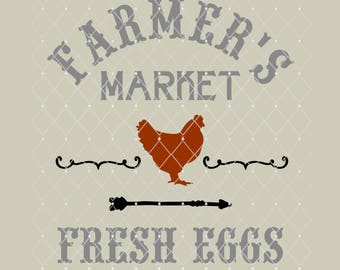 STENCIL Farmers Market Farm Eggs 10x9.3