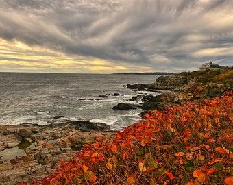 New England Photography - Maine - Lighthouse Photography - Portland Head - New England Coast - Autumn - Wall Art - 8 X 12 + Prints
