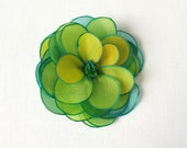 Hand painted silk rose brooch - tropical mix of teal, green and yellow - hand painted silk flower brooch - natural silk flower