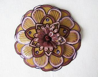 Purple, lilac and light brown silk flower brooch - statement brooch - hand painted silk flower brooch - natural silk flower