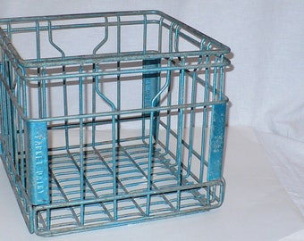 Vintage Packet Dairy Metal Milk Crate, Wire Milk Crate