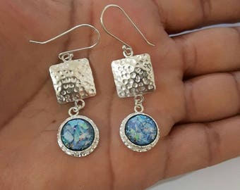 Hand Made  One Of A Kind  Hammered Roman Glass  925 Sterling Silver  Earrings