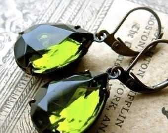 MOVING SALE On Sale Tuscan Virgin Olive Oil Green Pear Shaped Estate Style GlassJewel Earrings