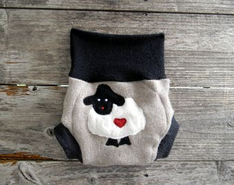 Upcycled Cashmere/ Wool Soaker Cover Diaper Cover With Added Doubler Black/ Oatmeal  With Baa Baa Sheep Applique SMALL 3-6M