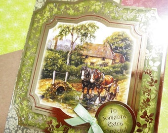 Handmade Fall Card - Thoughts of Autumn Bygone Times Horses on Bridge and Cozy Cottage - CHOICE OF SENTIMENTS