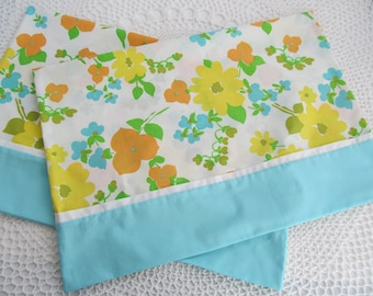 Colorful Pillowcases Pair -Set Flowers - Floral Print Yellow White Standard Size Made from Vintage Fabric Set Handmade