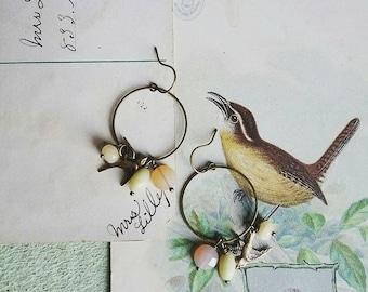 Bird Earrings, Beaded Brass Bird Dangle Earrings, Vintage Sherbert Colored Beads, Brass Hoops, Vintage Style Boho Earrings