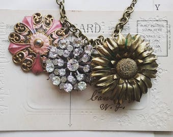 Floral Statement Necklace, Vintage Style Pink, Gold, and Rhinestone Flower Bib Necklace, Big, Bold Boho Necklace for Women