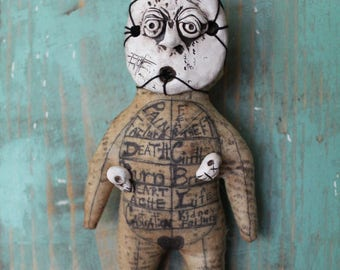 Original OOAK Folk Art Voodoo Doll Creepy Occult Fetish For Macabre Curiosity or Mystic Poppet for Witchcraft or Spell Witch Magic