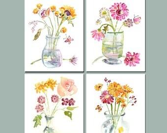Bathroom Print Set, Bathroom Art, watercolor flowers, bathroom watercolor prints, Bathroom Wall Art, Flower Paintings, Bathroom Decor