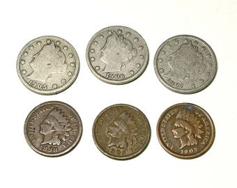 Vintage Indian Head Pennies, and  Victory Nickels - circa early 1900's