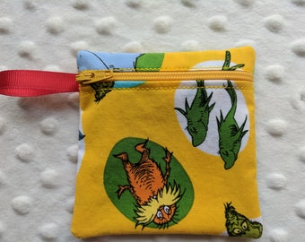 Handmade - Dr. Suess -  fabric Gift Card Holder - coin pouch