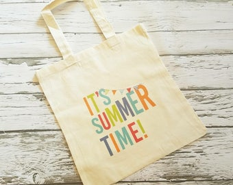 IT'S SUMMERTIME tote - 14x15 cotton tote - thank you bag - personalize if needed