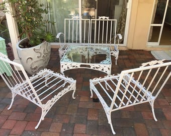 50u0027s Woodard Wrought Iron Patio ~ Two Seat Loveseat ~ Pomegranate ~ White