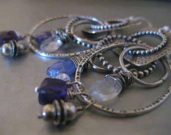 Sterling Silver Hoop Earrings Square hammered Amethyst Moonstone Tanzanite Dangle Drop Earrings Strawberry Frog
