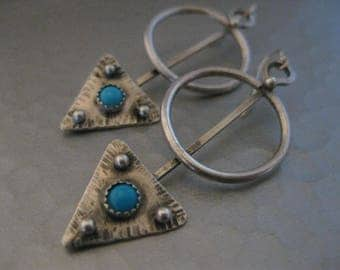 Southwestern Turquoise Triangle Sterling Silver Earrings by Strawberry Frog