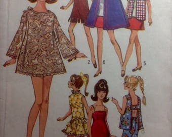 "Vintage Groovy FASHION DOLL Wardrobe 11-1/2"" Female Sewing Pattern Barbie Maddie Mod Dresses Jacket Suit Bathing Suits More"