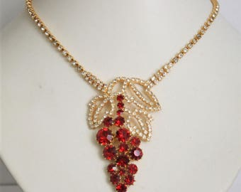 Red crystal necklace. Red rhinestone necklace. Czech necklace. Vintage necklace