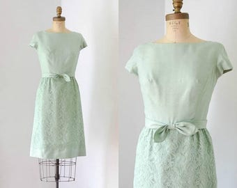 40% OFF SALE - Vintage 1960's Mint Green Lace Dress with Cap Sleeves