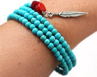 Bohemian Bracelet for Him or Her Boho Tribal Bracelet Red Coral Bracelet 3 Wrap Blue Turquoise Bracelet Silver Feather Charms Bracelet