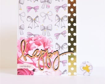 Feminine Floral/Bow Stamped Happy Birthday Card with Matching Envelope Seal - Peony Flower Birthday Card for Daughter/Mom/Sister/Girlfriend